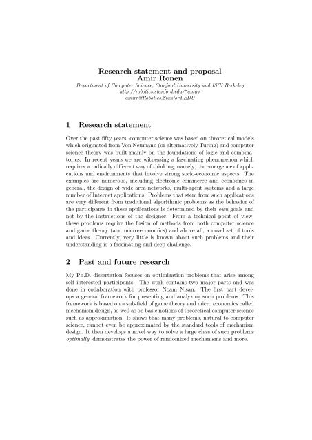 Research statement and proposal Amir Ronen - Stanford University