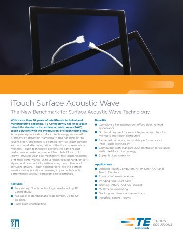 iTouch Surface Acoustic Wave - Elo TouchSystems