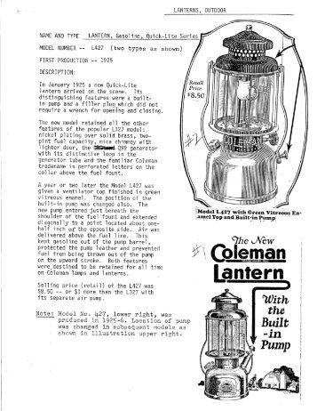 Coleman lantern 228f Manual