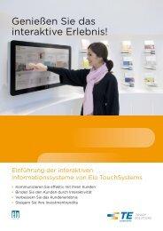Genießen Sie das interaktive Erlebnis! - Elo TouchSystems
