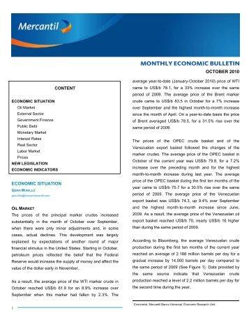 Monthly Economic Bulletin October 2010 - Banco Mercantil