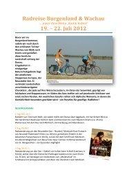Radreise Burgenland & Wachau 19. – 22. Juli 2012
