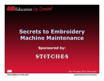 Secrets to Embroidery Machine Maintenance