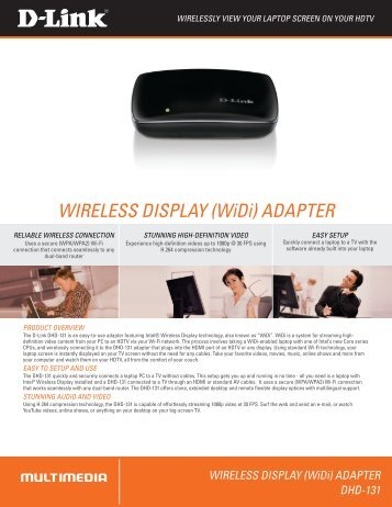 WIRELESS DISPLAY (WiDi) ADAPTER - D-link.co.kr