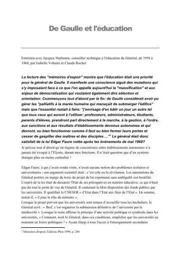 De Gaulle et l'éducation - Claude Rochet
