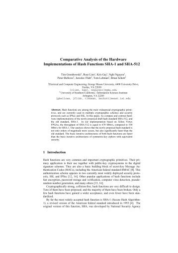 Comparative Analysis of the Hardware Implementations of Hash ...