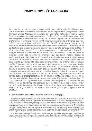 L'IMPOSTURE PÉDAGOGIQUE - Claude ROCHET