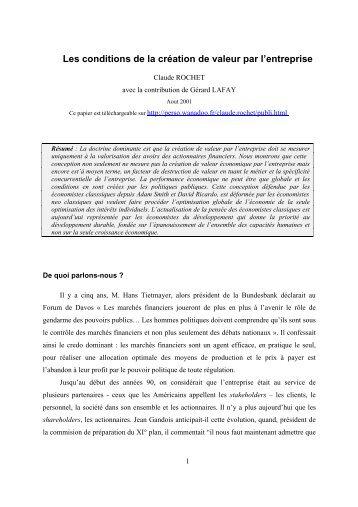 La création de valeur dans l'entreprise - Claude Rochet