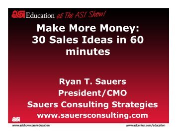 Make More Money: 30 Sales Ideas in 60 minutes