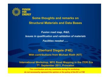 Some thoughts and remarks on Structural Materials and Data Bases ...