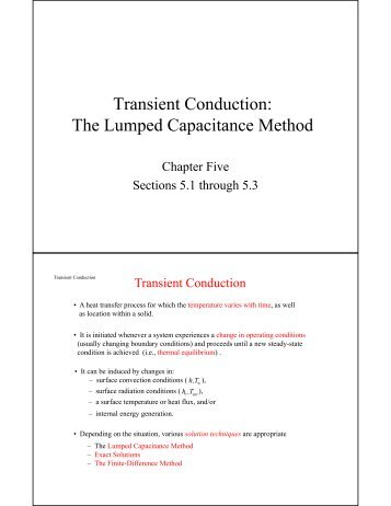 Transient Conduction: The Lumped Capacitance Method