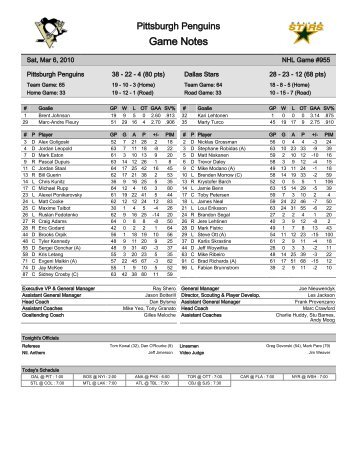 Game Notes - Pittsburgh Penguins