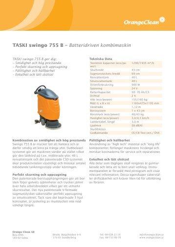 TASKI swingo 755 B – Batteridriven kombimaskin - Orange Clean AB