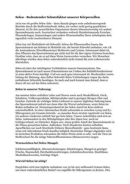 Selen Schutzfaktor der Zelle - Peter-weck.de