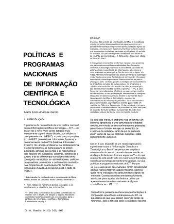 POLÍTICAS E PROGRAMAS NACIONAIS DE INFORMAÇÃO ... - Ibict