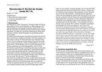 Sternstunden 9: Die Zeit der Gnade - Jesaja 54,7-10, - FeG Bingen