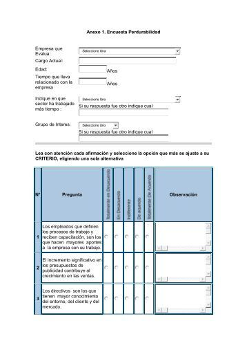 Anexo 1. Encuesta Perdurabilidad Empresa que Evalua: Cargo ...