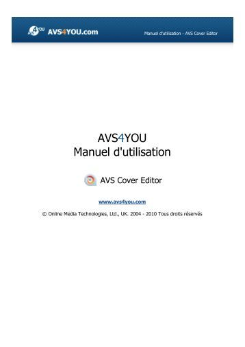Manuel d'utilisation - AVS Cover Editor - AVS4YOU >> Online Help