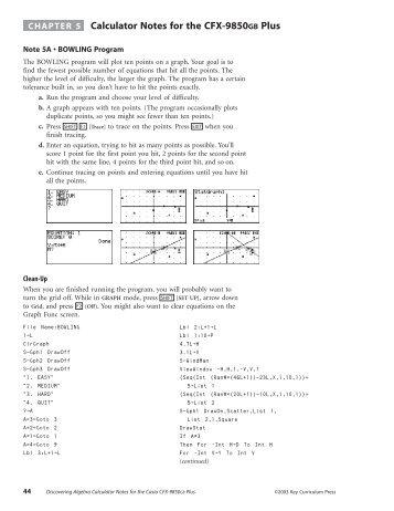 Calculator Notes for Casio CFX-9850GB Plus