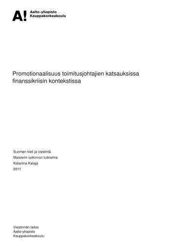 Promotionaalisuus toimitusjohtajien katsauksissa ... - Aalto-yliopisto