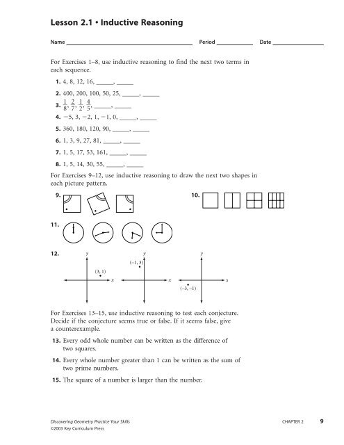 Lesson 2.1 • Inductive Reasoning