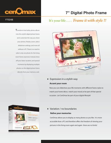 7? Digital Photo Frame It's your life . . . . Frame it with style !!