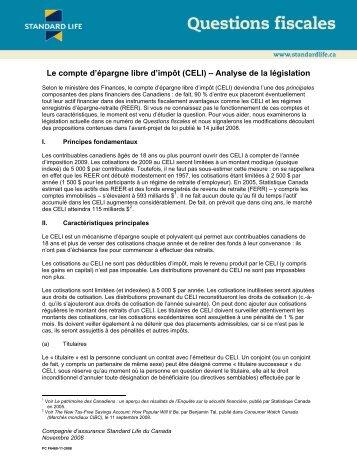 Le compte d'épargne libre d'impôt (CELI) – Analyse ... - Standard Life