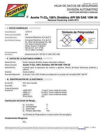 Aceite Ti-22 ® 100% Sintético API SN SAE 10W-30 - Roshfrans