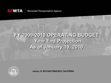 FY 2009-2010 OPERATING BUDGET Year End Projection As of ...