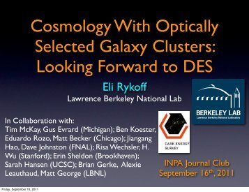 Cosmology With Optically Selected Galaxy Clusters: Looking ...