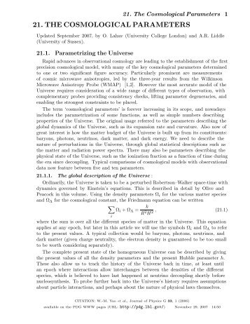 21. THE COSMOLOGICAL PARAMETERS - Particle Data Group