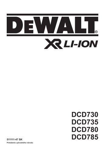 DCD730 DCD735 DCD780 DCD785 - Dewalt