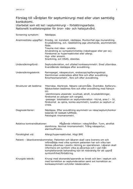 Förslag till vårdplan för septumkirurgi med eller utan samtidig ...