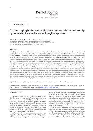 chronic gingivitis and aphthous stomatitis journal unair - Format Resume Keperawatan Doc