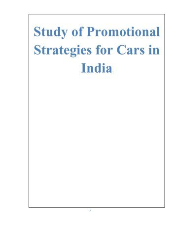 Study of Promotional Strategies for Cars in India