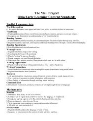 The Mail Project Ohio Early Learning Content Standards