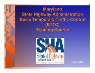 SHA's BTTC Training Course - Maryland State Highway Administration