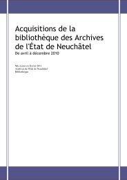 Acquisitions de la bibliothèque des Archives de l'État de Neuchâtel