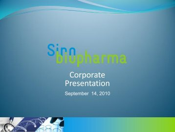Sinobiopharma, Inc. OTC BB