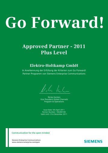 Approved Partner - 2011 Plus Level - Elektro-Holtkamp