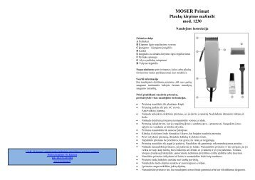 MOSER Primat 1230 Plauku kirpimo masinele.pdf - UAB Krinona ...