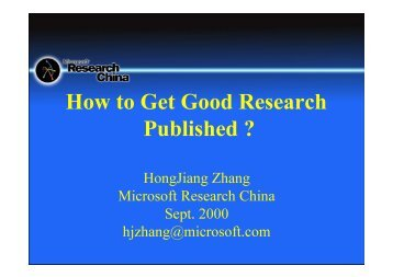 How to Get Good Research Published ""