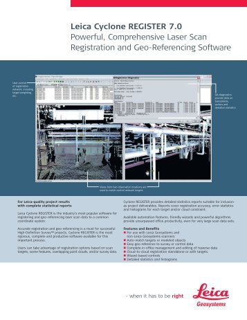 Leica Cyclone REGISTER 7.0 Powerful, Comprehensive Laser Scan ...