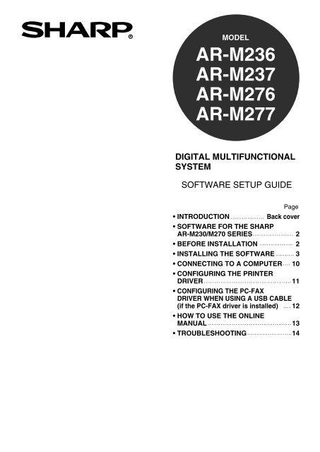 Sharp ar-m276 manuals.