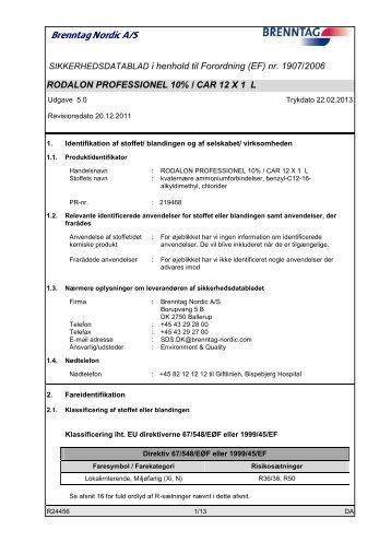 SIKKERHEDSDATABLAD i henhold til Forordning ... - AbenaOnline