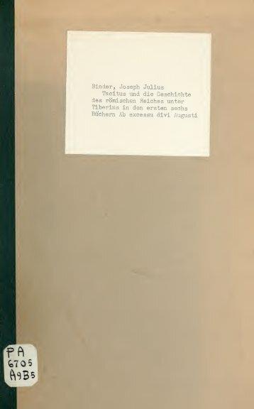 Tacitus und die Geschichte des römischen Reiches unter Tiberius in ...