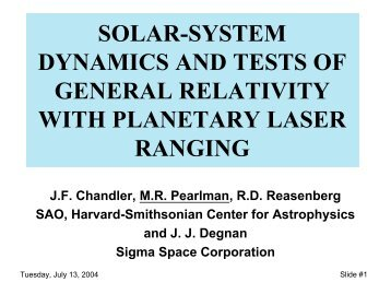 solar-system dynamics and tests of general relativity with planetary ...
