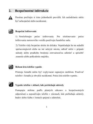 2. Bezpečnostné inštrukcie