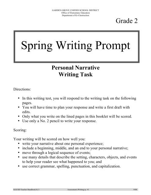 Spring Writing Prompt - Garden Grove Unified School District