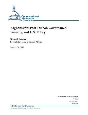 Post-Taliban Governance, Security, and U.S. Policy - Foreign Press ...